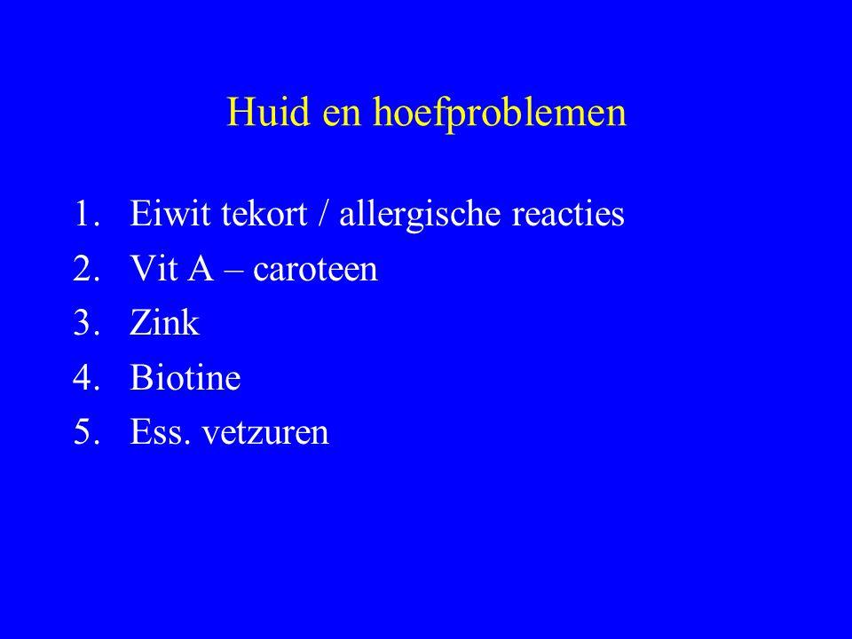 Huid en hoefproblemen Eiwit tekort / allergische reacties
