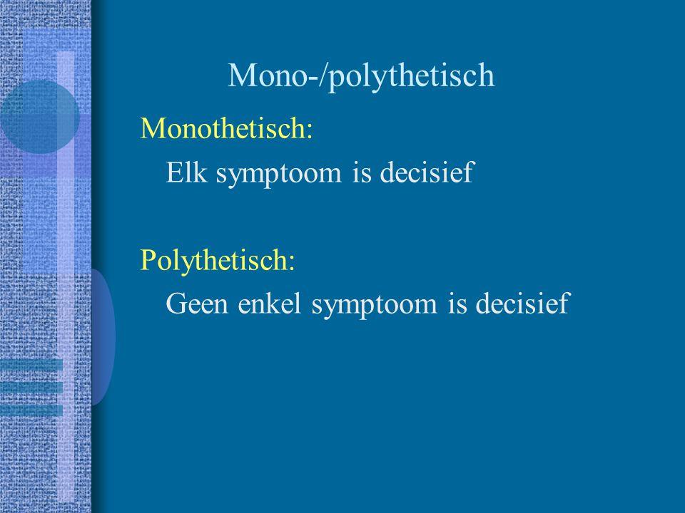 Mono-/polythetisch Monothetisch: Elk symptoom is decisief