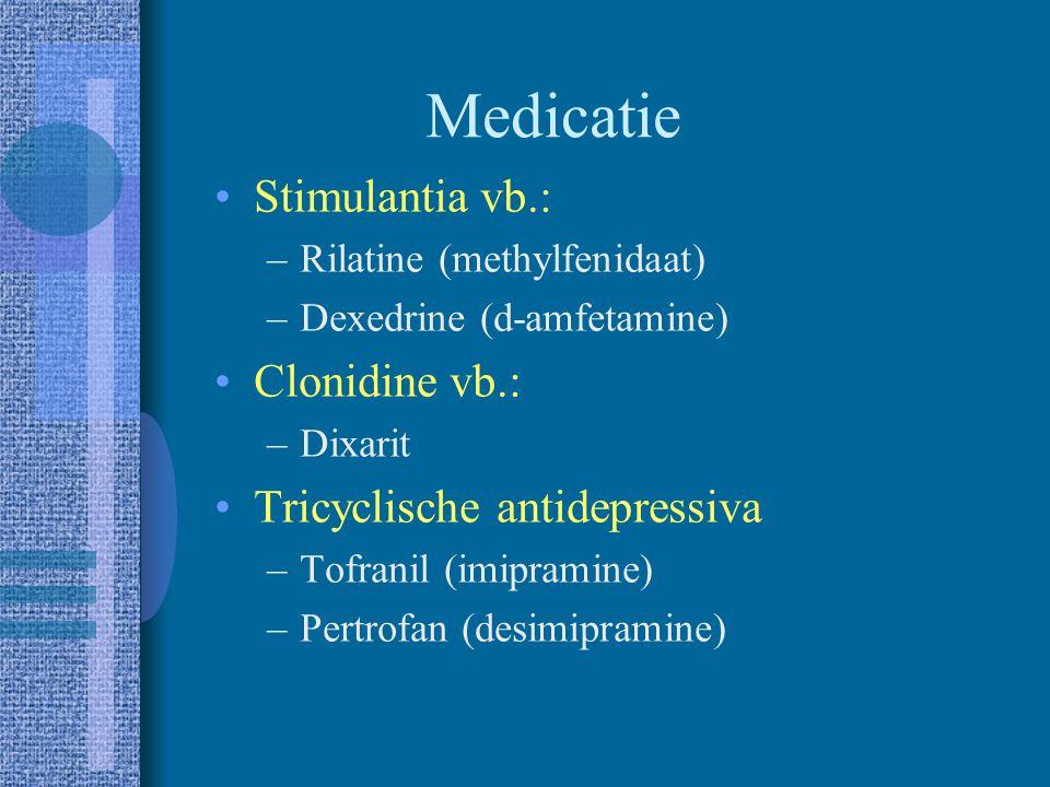Medicatie Stimulantia vb.: Clonidine vb.:
