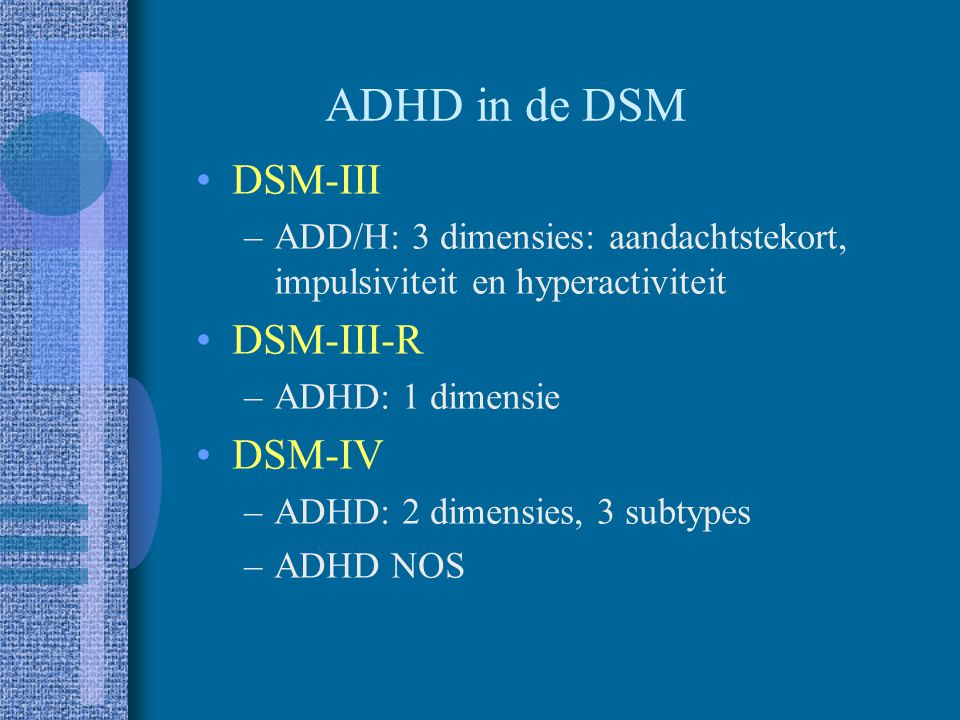 ADHD in de DSM DSM-III DSM-III-R DSM-IV