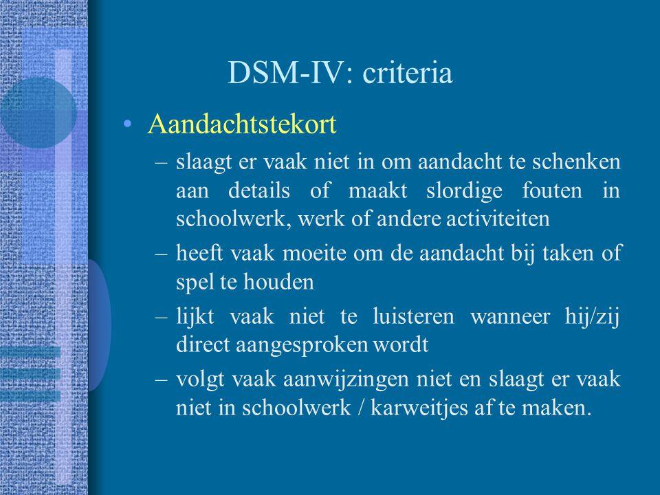 DSM-IV: criteria Aandachtstekort