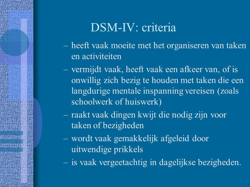 DSM-IV: criteria heeft vaak moeite met het organiseren van taken en activiteiten.