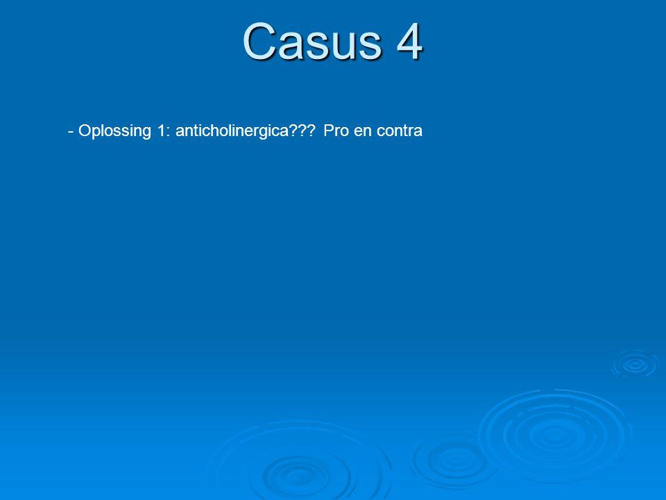 Casus 4 Oplossing 1: anticholinergica Pro en contra