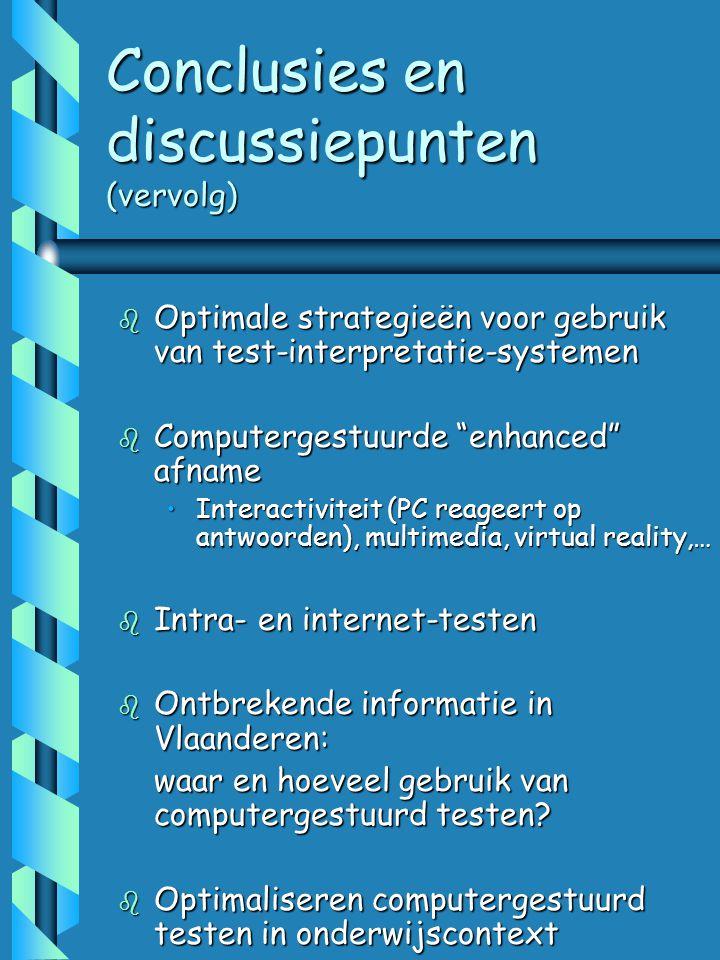Conclusies en discussiepunten (vervolg)