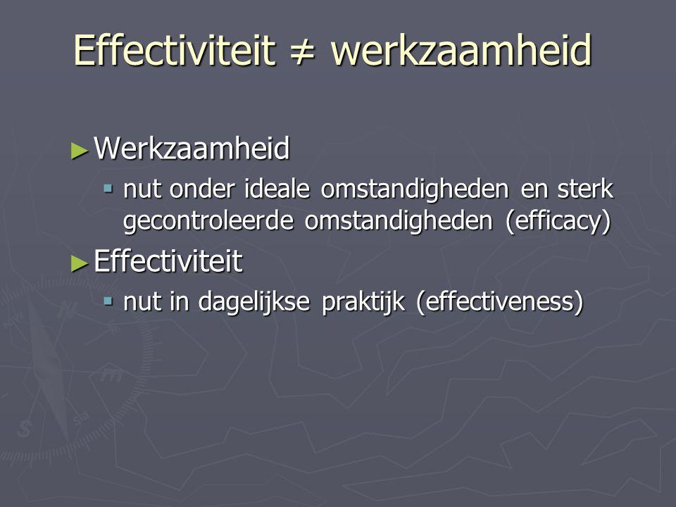 Effectiviteit ≠ werkzaamheid