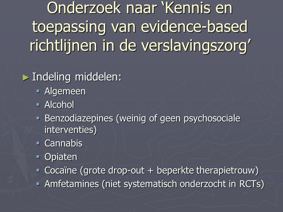 Onderzoek naar 'Kennis en toepassing van evidence-based richtlijnen in de verslavingszorg'