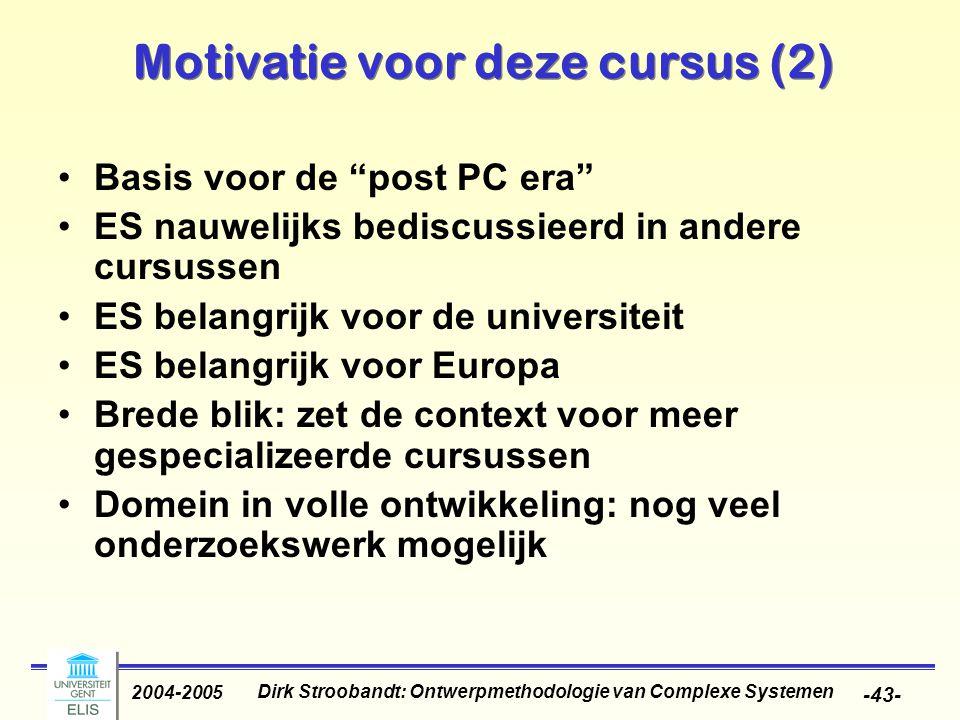 Motivatie voor deze cursus (2)