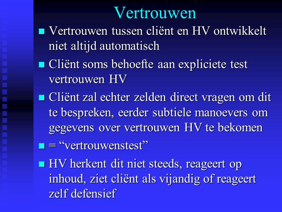 Vertrouwen Vertrouwen tussen cliënt en HV ontwikkelt niet altijd automatisch. Cliënt soms behoefte aan expliciete test vertrouwen HV.