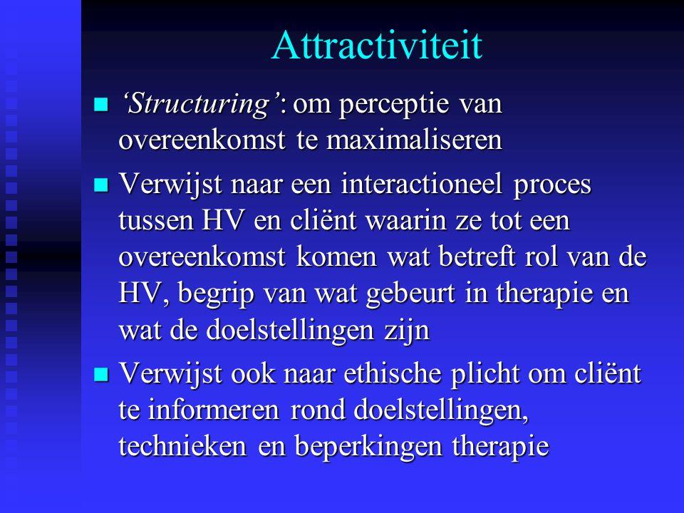 Attractiviteit 'Structuring': om perceptie van overeenkomst te maximaliseren.