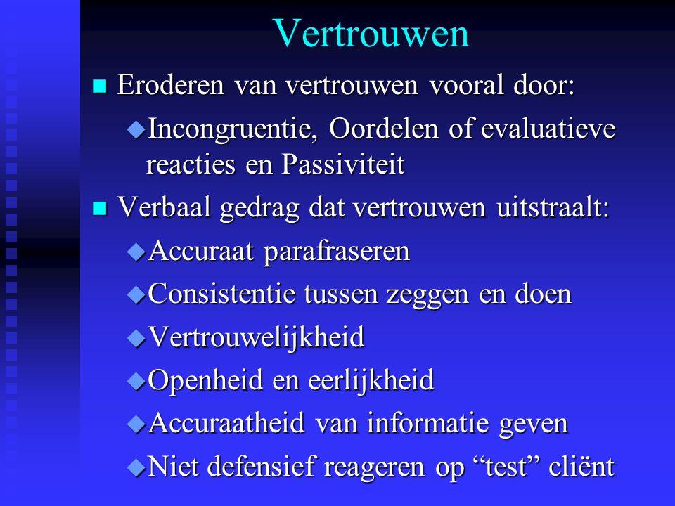 Vertrouwen Eroderen van vertrouwen vooral door:
