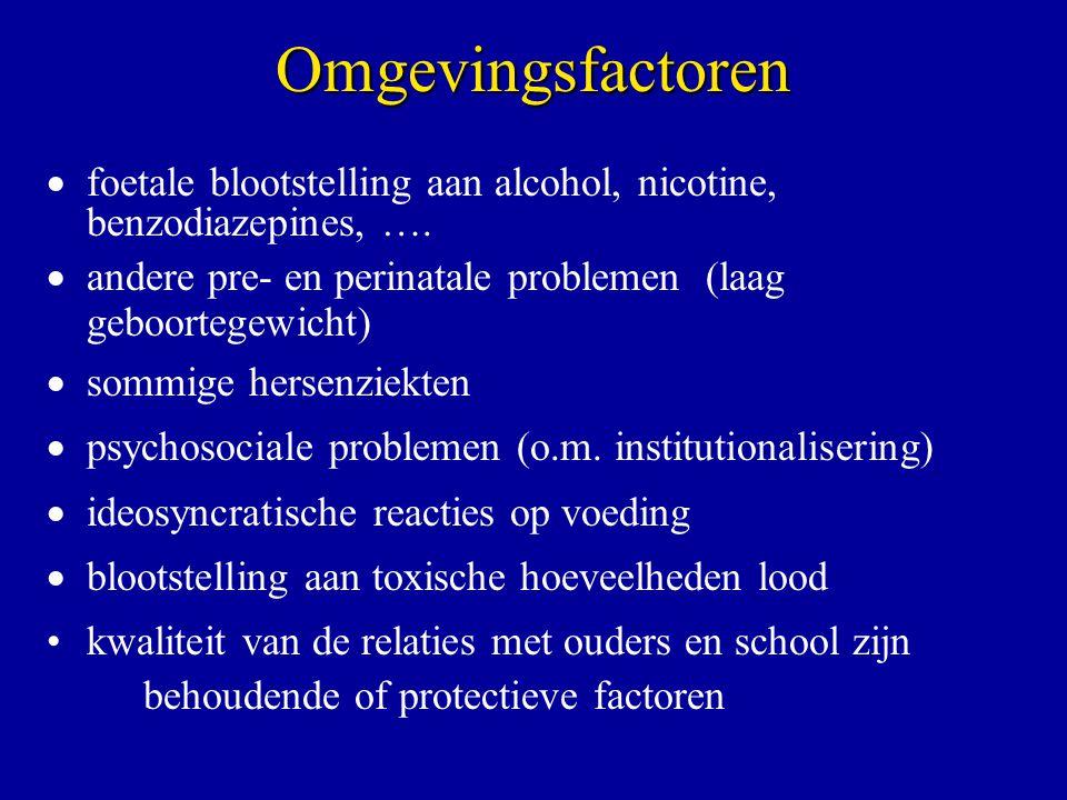 Omgevingsfactoren foetale blootstelling aan alcohol, nicotine, benzodiazepines, …. andere pre- en perinatale problemen (laag geboortegewicht)