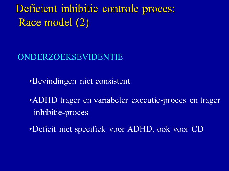 Deficient inhibitie controle proces: Race model (2)