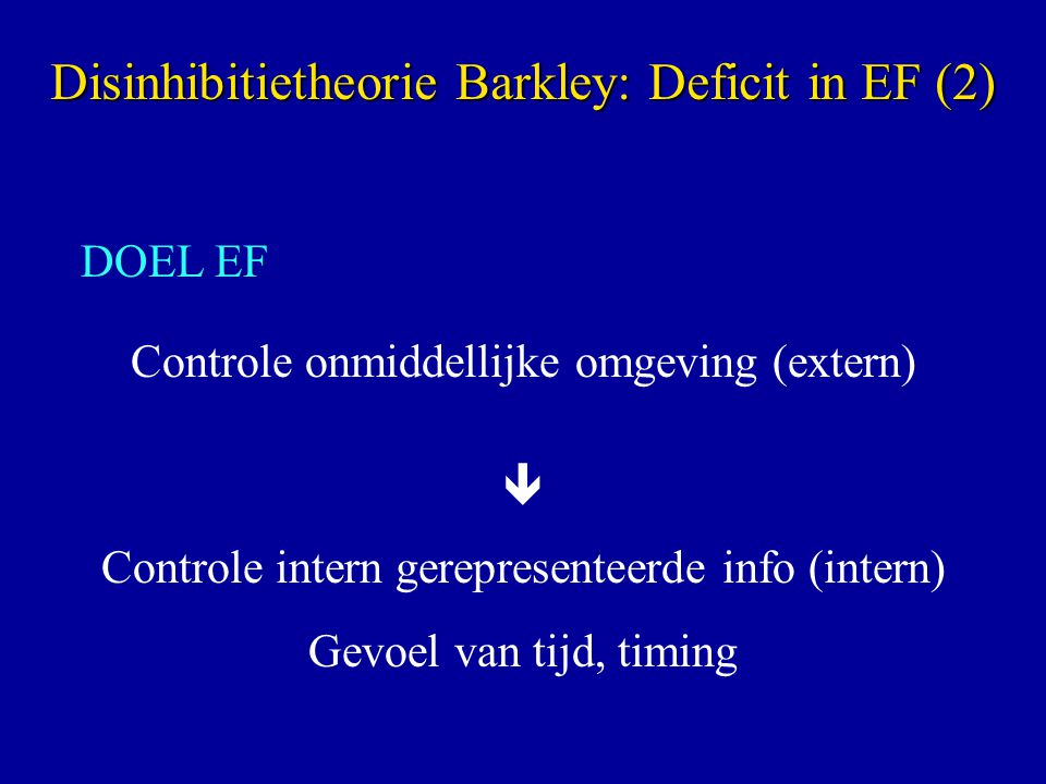 Disinhibitietheorie Barkley: Deficit in EF (2)