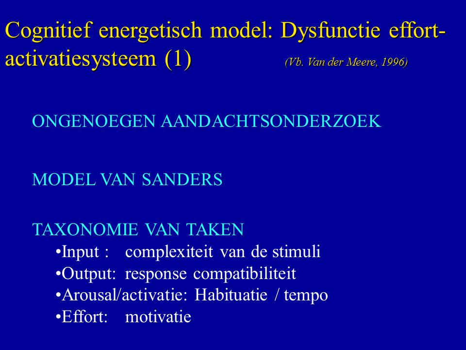 Cognitief energetisch model: Dysfunctie effort-activatiesysteem (1)