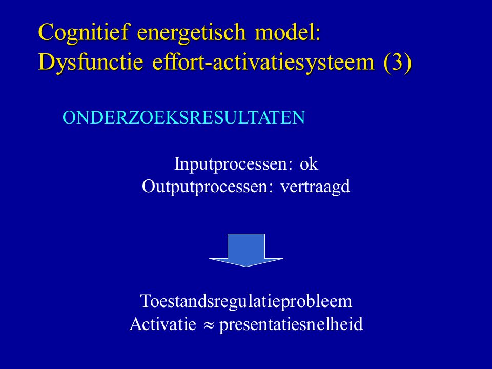 Cognitief energetisch model: Dysfunctie effort-activatiesysteem (3)