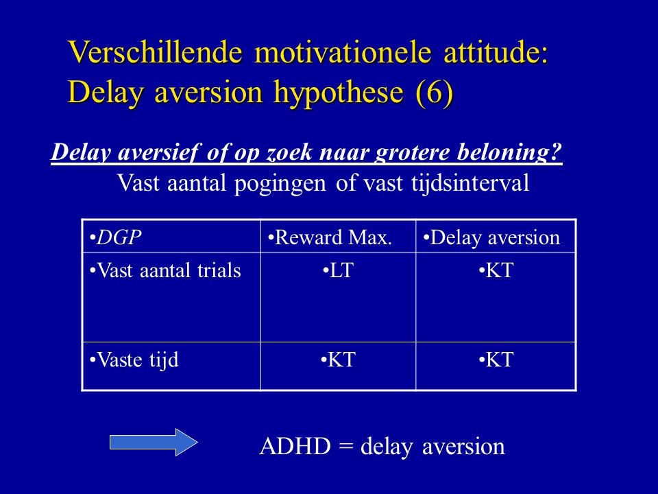 Verschillende motivationele attitude: Delay aversion hypothese (6)