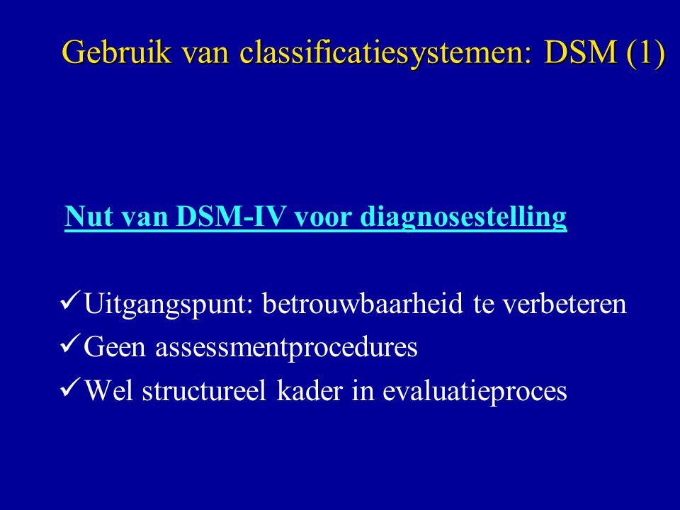 Gebruik van classificatiesystemen: DSM (1)