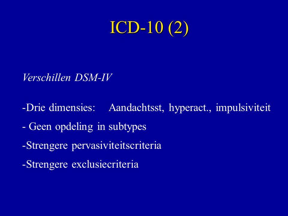 ICD-10 (2) Verschillen DSM-IV