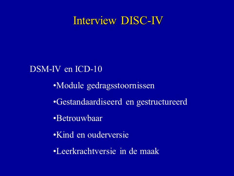 Interview DISC-IV DSM-IV en ICD-10 Module gedragsstoornissen