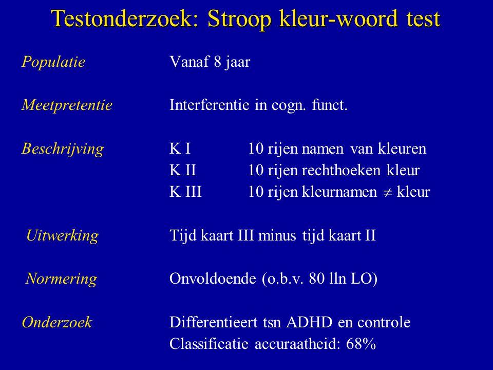 Testonderzoek: Stroop kleur-woord test