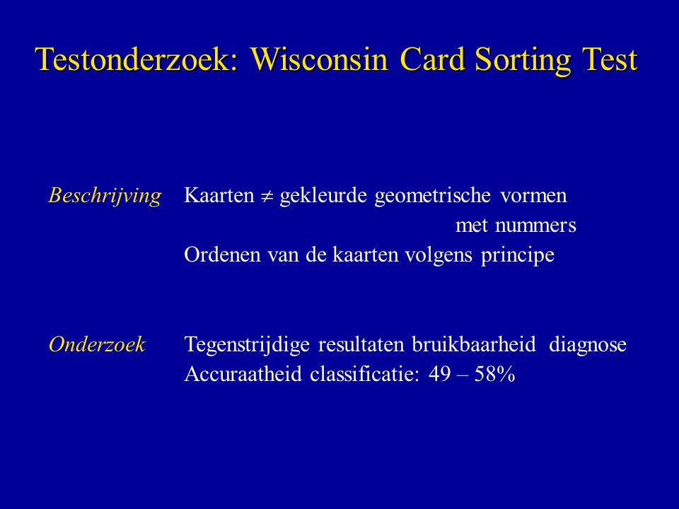 Testonderzoek: Wisconsin Card Sorting Test