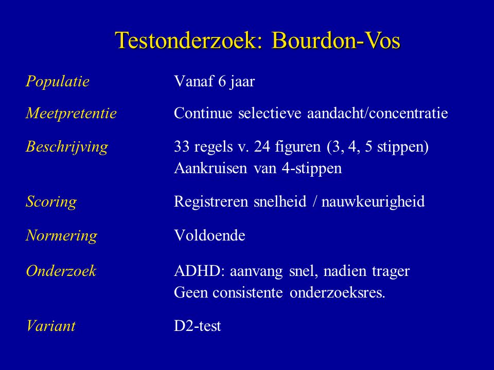 Testonderzoek: Bourdon-Vos