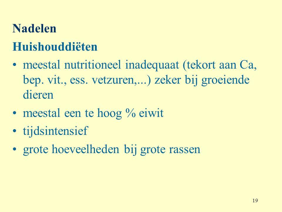 Nadelen Huishouddiëten. meestal nutritioneel inadequaat (tekort aan Ca, bep. vit., ess. vetzuren,...) zeker bij groeiende dieren.