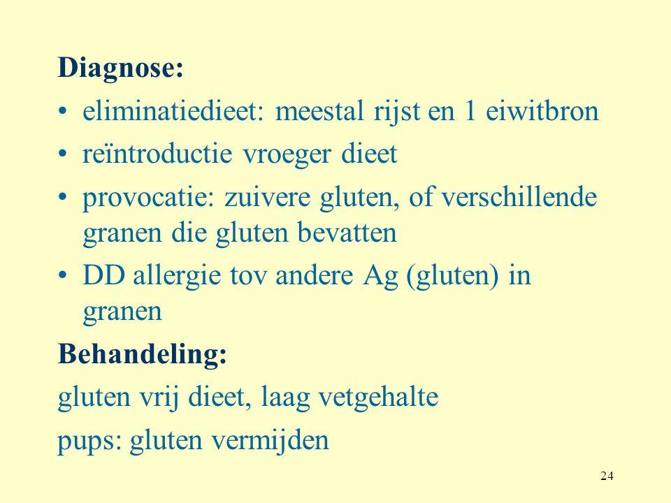 Diagnose: eliminatiedieet: meestal rijst en 1 eiwitbron. reïntroductie vroeger dieet.