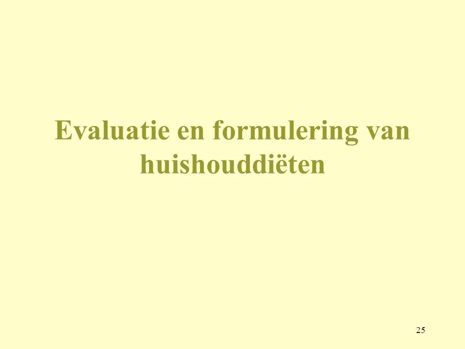 Evaluatie en formulering van huishouddiëten
