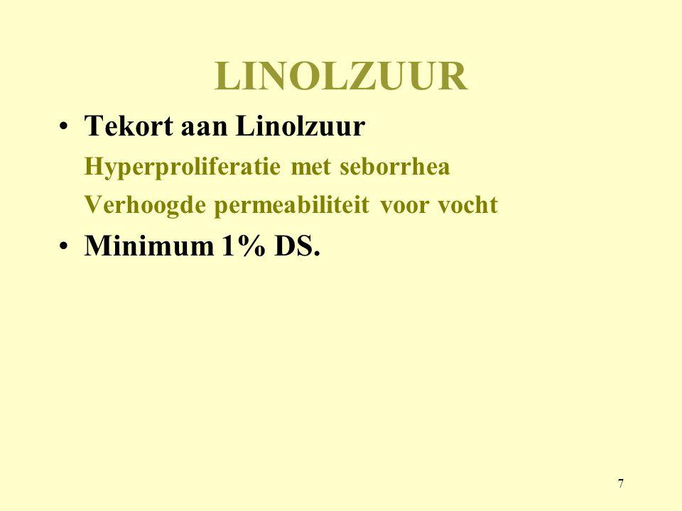 LINOLZUUR Tekort aan Linolzuur Minimum 1% DS.
