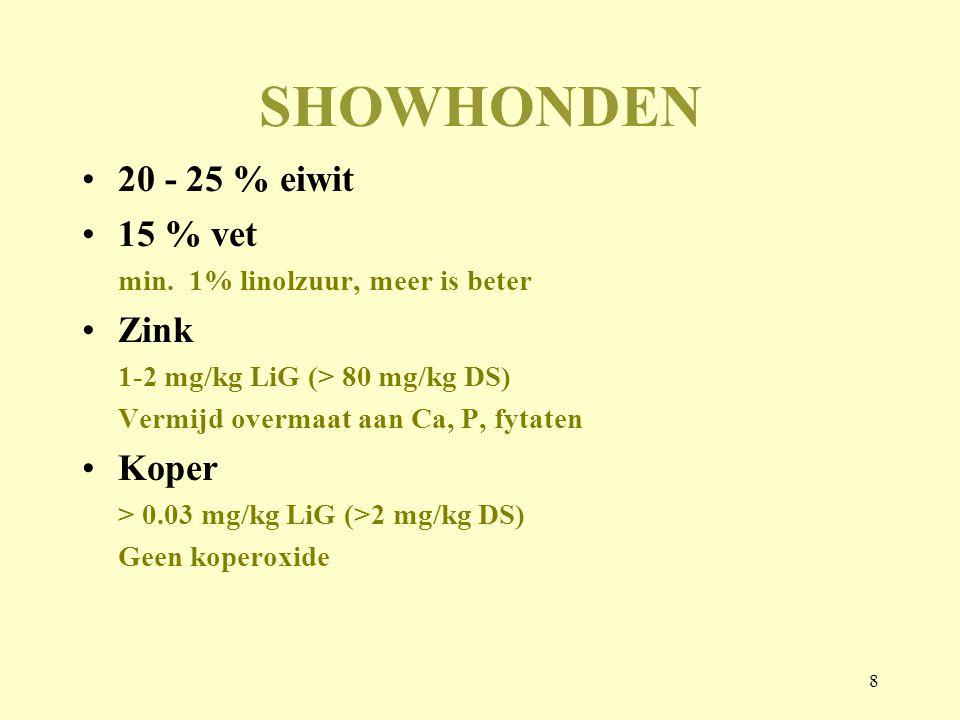 SHOWHONDEN 20 - 25 % eiwit 15 % vet Zink Koper
