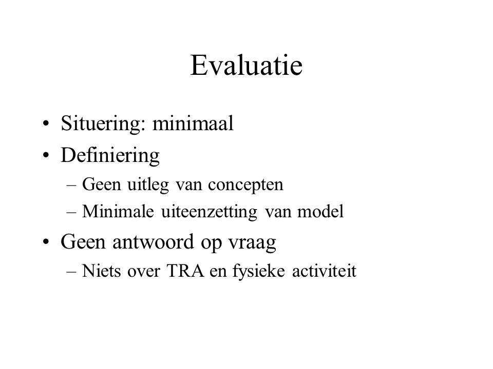 Evaluatie Situering: minimaal Definiering Geen antwoord op vraag