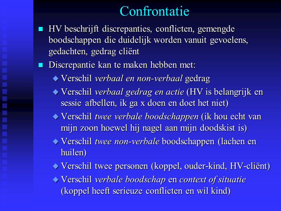 Confrontatie HV beschrijft discrepanties, conflicten, gemengde boodschappen die duidelijk worden vanuit gevoelens, gedachten, gedrag cliënt.