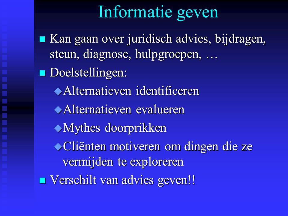 Informatie geven Kan gaan over juridisch advies, bijdragen, steun, diagnose, hulpgroepen, … Doelstellingen:
