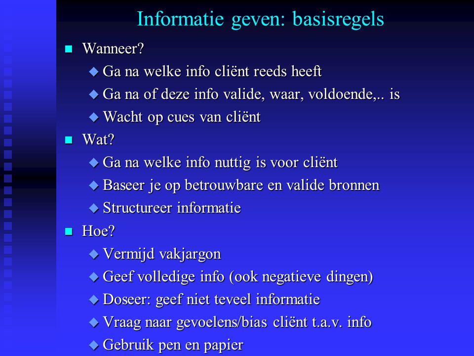 Informatie geven: basisregels