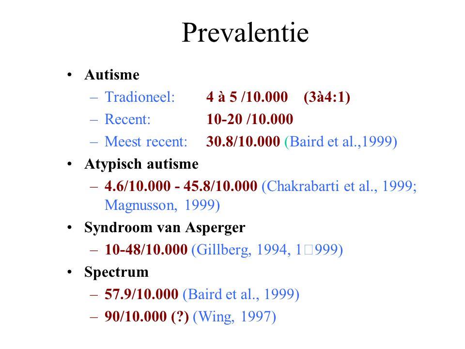 Prevalentie Autisme Tradioneel: 4 à 5 /10.000 (3à4:1)