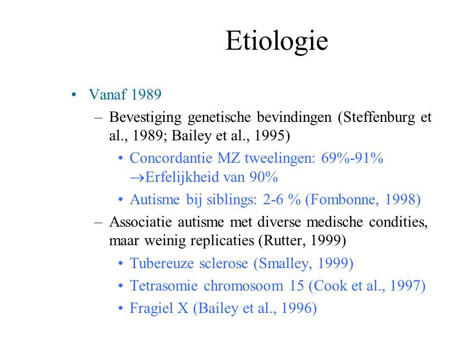 Etiologie Vanaf 1989. Bevestiging genetische bevindingen (Steffenburg et al., 1989; Bailey et al., 1995)