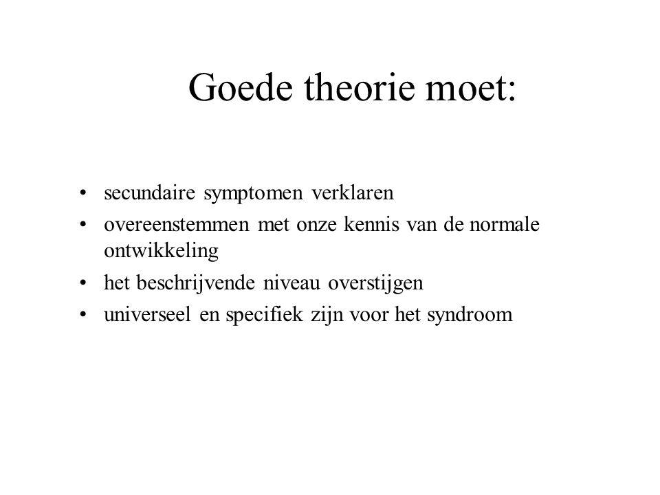 Goede theorie moet: secundaire symptomen verklaren