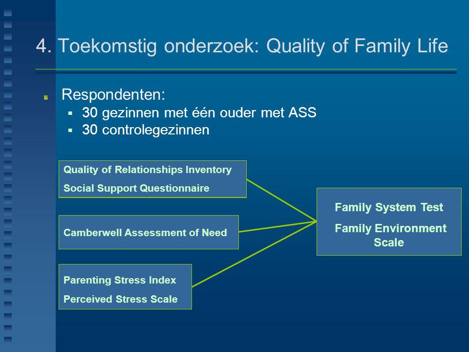 4. Toekomstig onderzoek: Quality of Family Life