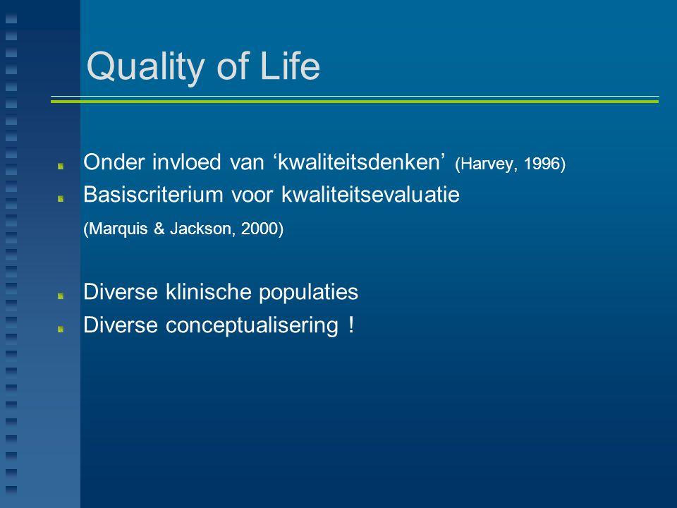 Quality of Life Onder invloed van 'kwaliteitsdenken' (Harvey, 1996)