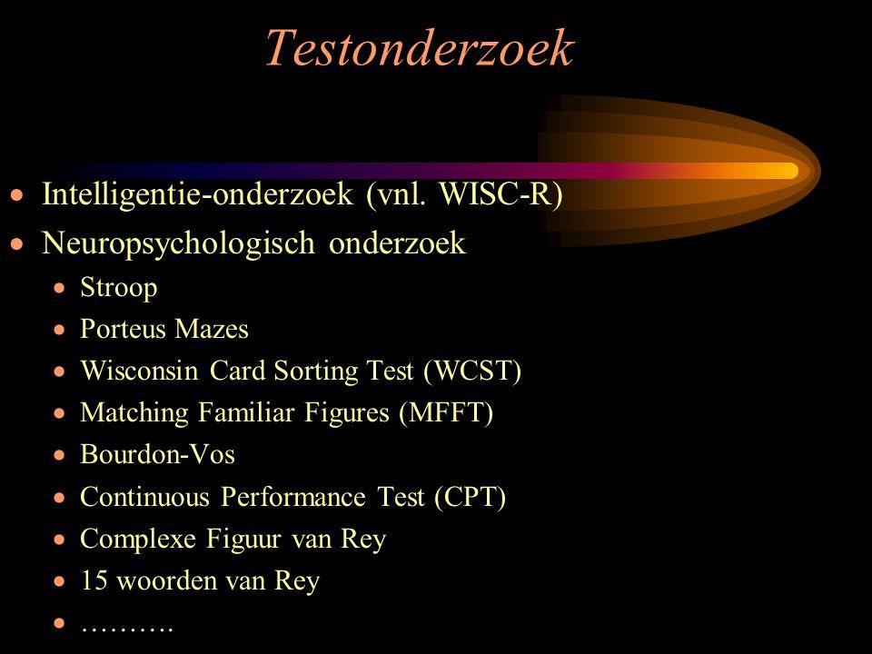 Testonderzoek Intelligentie-onderzoek (vnl. WISC-R)