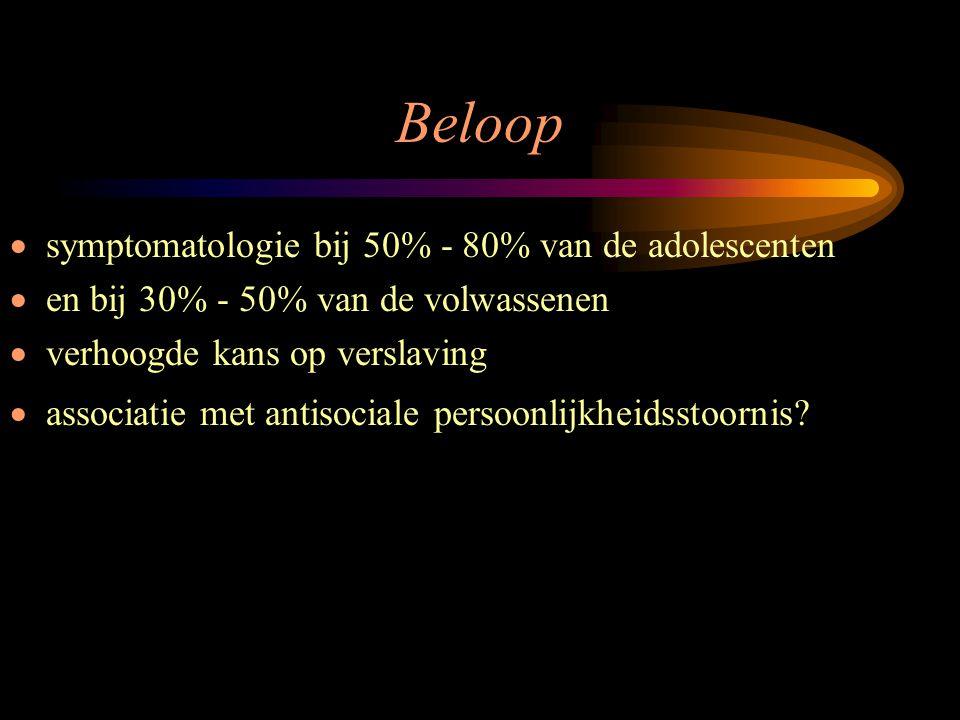 Beloop symptomatologie bij 50% - 80% van de adolescenten