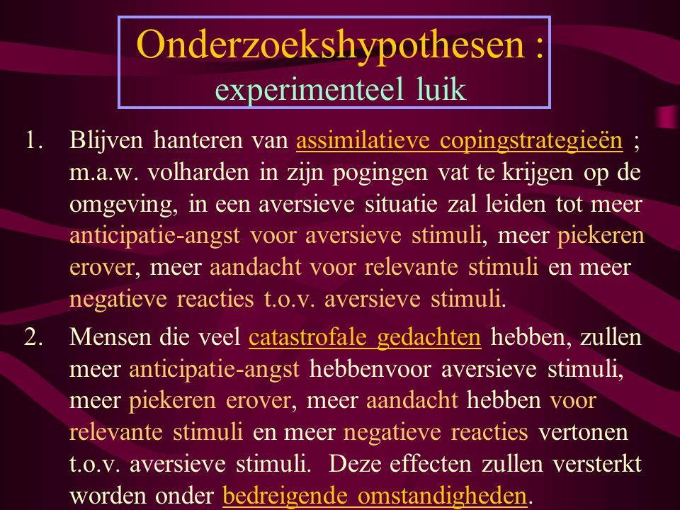Onderzoekshypothesen : experimenteel luik
