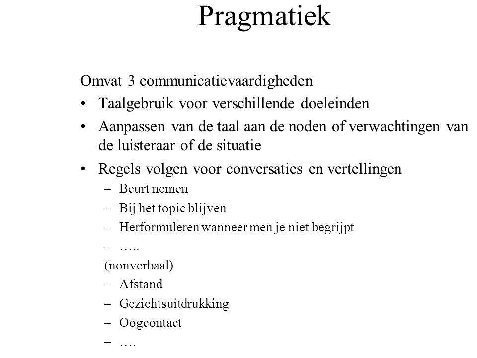 Pragmatiek Omvat 3 communicatievaardigheden