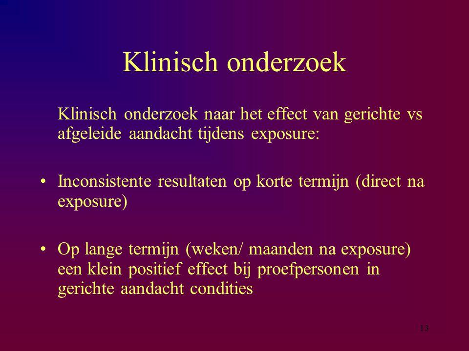 Klinisch onderzoek Klinisch onderzoek naar het effect van gerichte vs afgeleide aandacht tijdens exposure:
