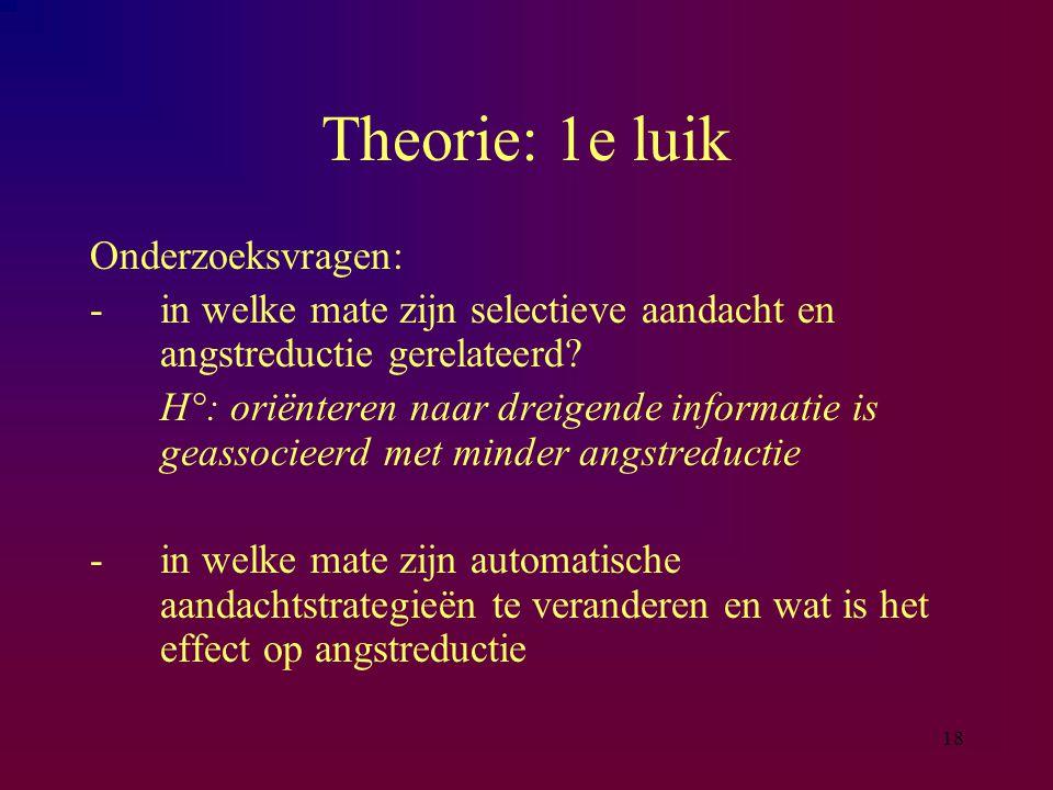 Theorie: 1e luik Onderzoeksvragen: