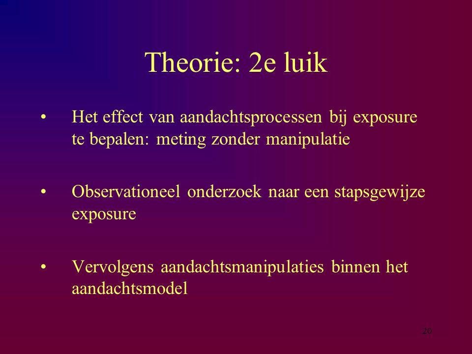Theorie: 2e luik Het effect van aandachtsprocessen bij exposure te bepalen: meting zonder manipulatie.