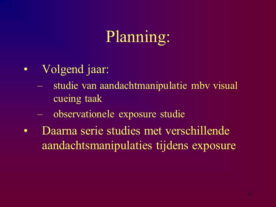 Planning: Volgend jaar: