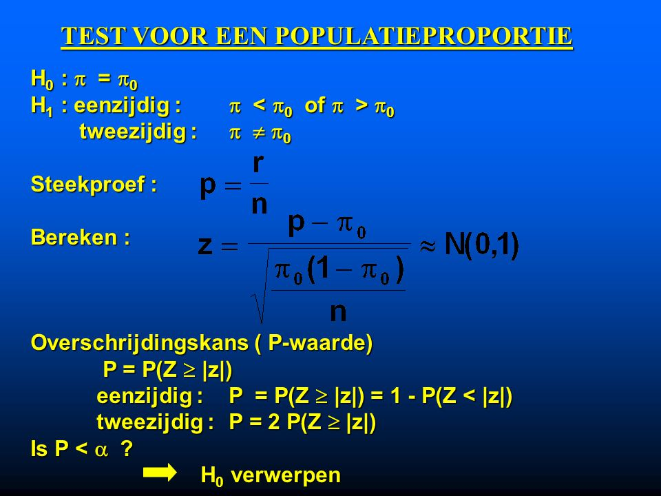 TEST VOOR EEN POPULATIEPROPORTIE