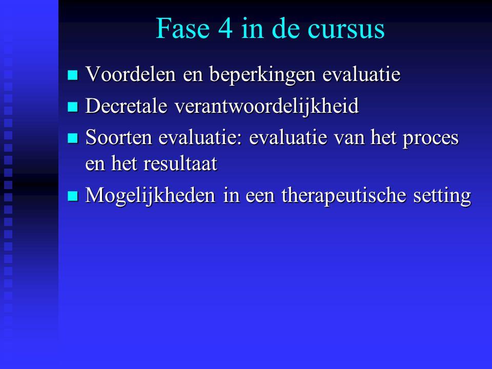 Fase 4 in de cursus Voordelen en beperkingen evaluatie